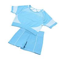 Спортивный костюм шорты и топ Lesko The Queen Jane 2088-2 L Голубой