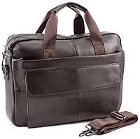 Сумка чоловіча шкіряна через плече для ноутбука на два відділення Tiding Bag Коричнева, фото 1