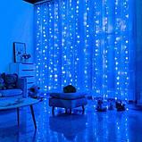 Гирлянда светодиодная Штора Роса 200 LED 3х2 м 8 режимов Соединитель Синий, фото 6