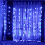 Гирлянда светодиодная Штора Роса 200 LED 3х2 м 8 режимов Соединитель Синий, фото 7