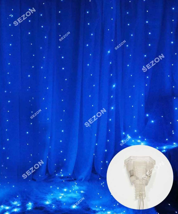 Гирлянда светодиодная Штора Роса 200 LED 3х2 м 8 режимов Соединитель Синий