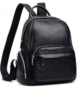 Женский городской рюкзак. Черный кожаный рюкзак молодежный (76354)