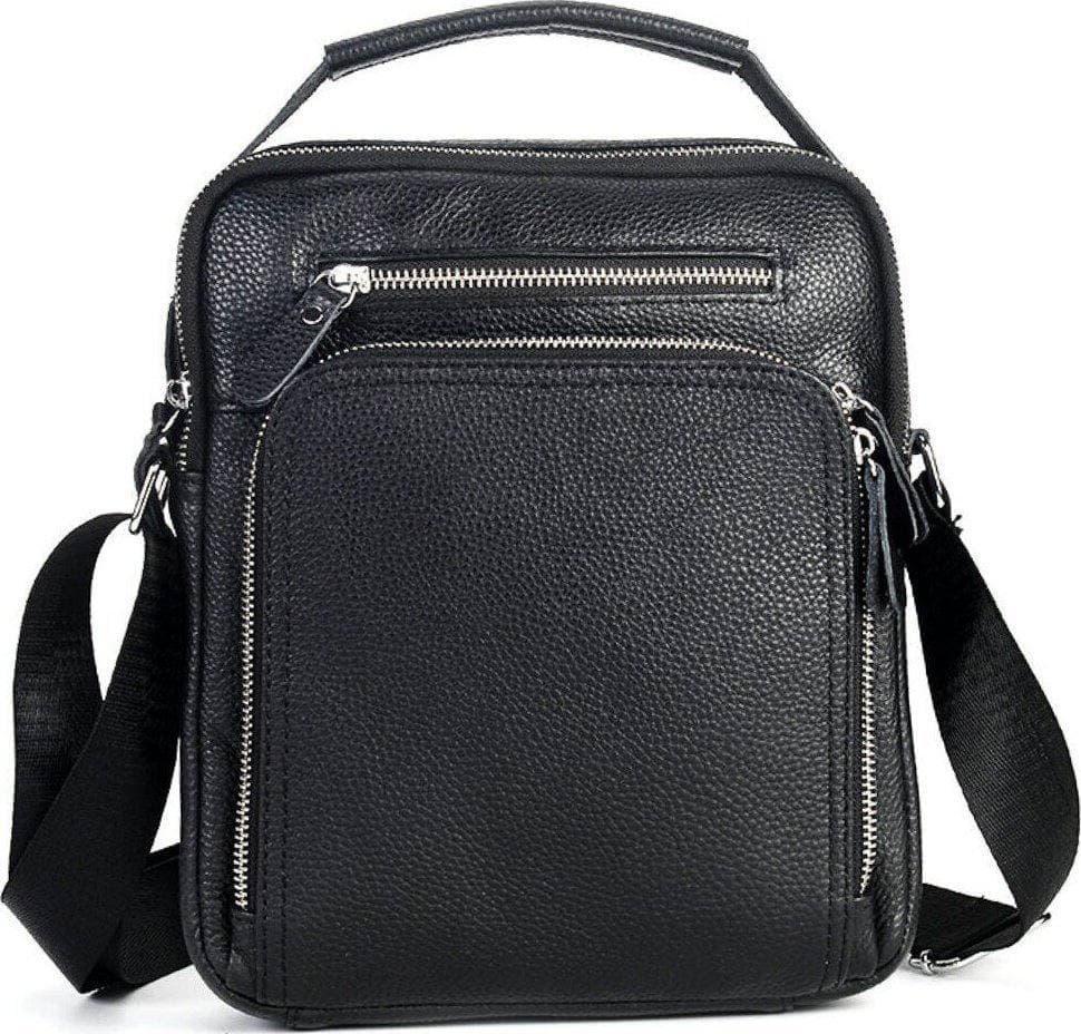 Чоловіча шкіряна сумка через плече Чорна з натуральної шкіри, чоловічі сумки з ручкою