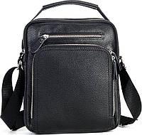 Чоловіча шкіряна сумка через плече Чорна з натуральної шкіри, чоловічі сумки з ручкою, фото 1