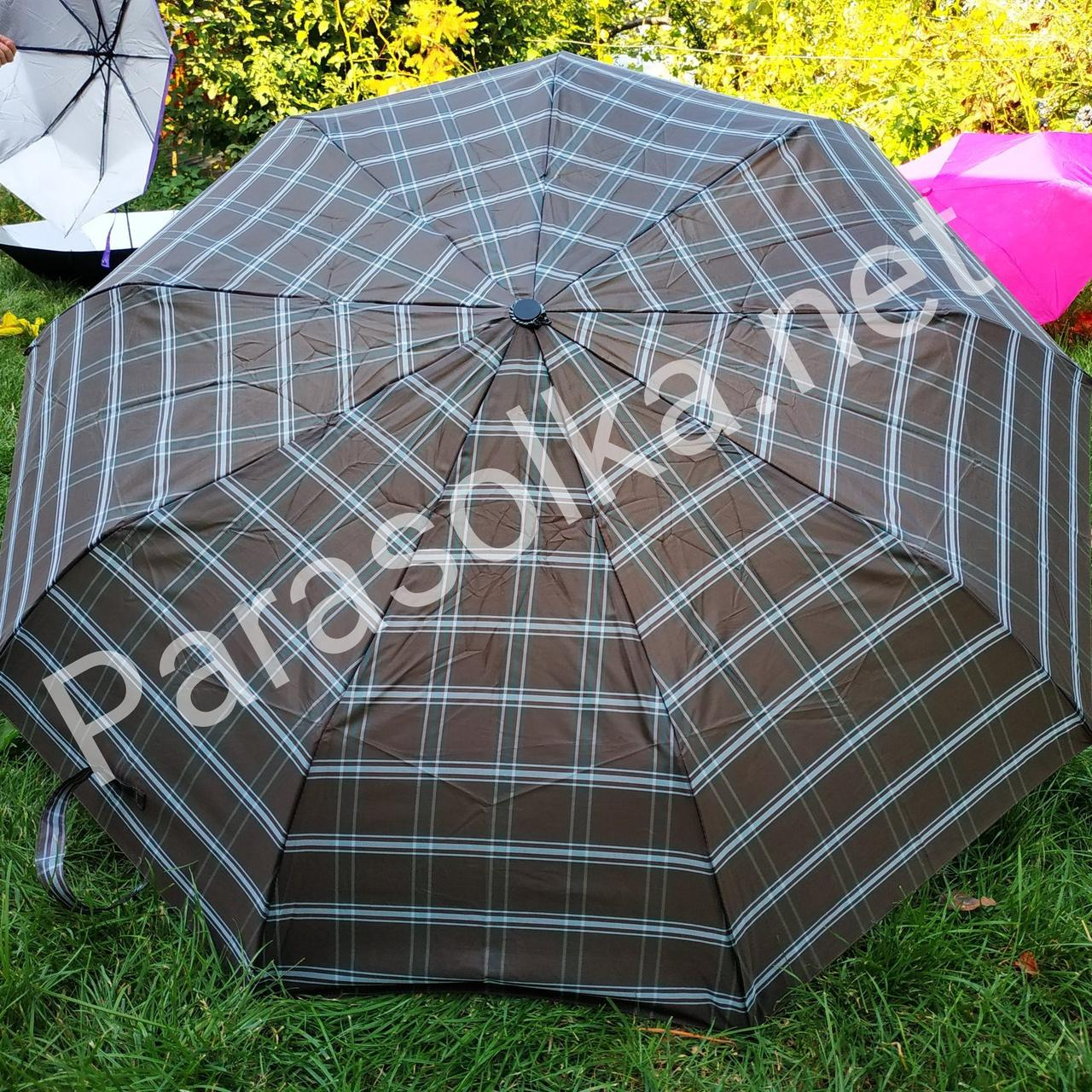 Зонт мужской коричневый в клеточку Star Rain арт.308p