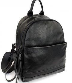 Жіночий шкіряний рюкзак. Рюкзак міський жіночий чорний (87115)