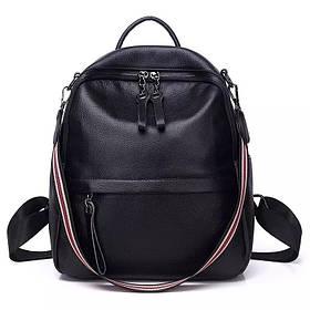 Жіночий шкіряний міський рюкзак. Рюкзак жіночий молодіжний чорний