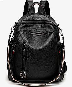 Стильний жіночий рюкзак з натуральної шкіри. Чорний шкіряний рюкзак міський (76590)
