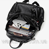 Стильний жіночий рюкзак з натуральної шкіри. Чорний шкіряний рюкзак міський (76590), фото 4