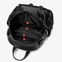 Стильний жіночий рюкзак з натуральної шкіри. Чорний шкіряний рюкзак міський (76590), фото 2