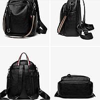 Стильний жіночий рюкзак з натуральної шкіри. Чорний шкіряний рюкзак міський (76590), фото 6