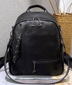 Рюкзак жіночий міський. Жіночий рюкзак чорний з натуральної шкіри (87439)