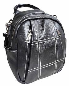 Женский маленький рюкзак черный. городской кожаный рюкзачок (04398)