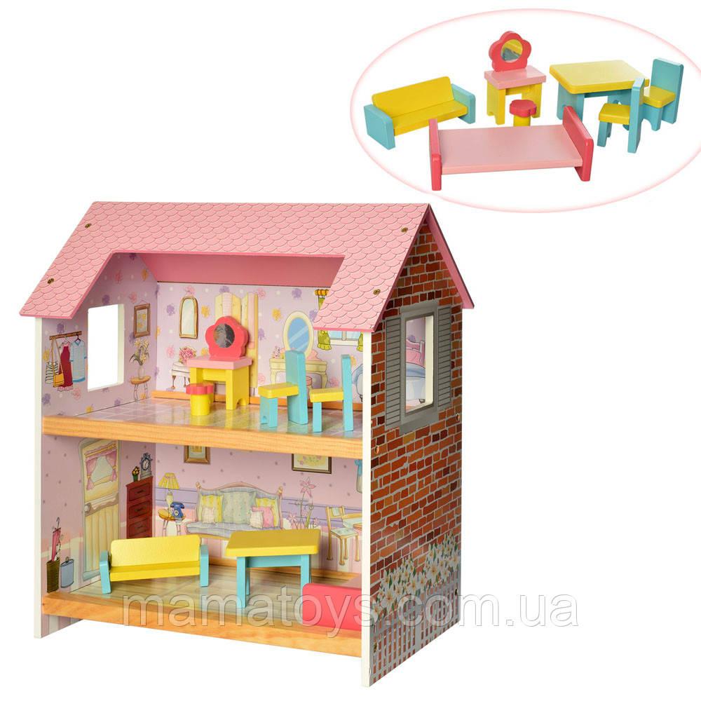 Деревянный Кукольный домик MD 2048 с мебелью, 2 этажа, 48 см