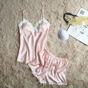 Пижама атласная женская розовая код П27