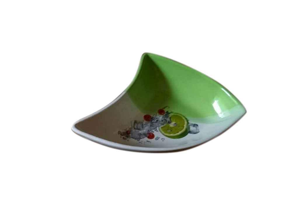 Салатник 0,800л Каприз великий біло-салатовий з деколью ТМ АВАНГАРД