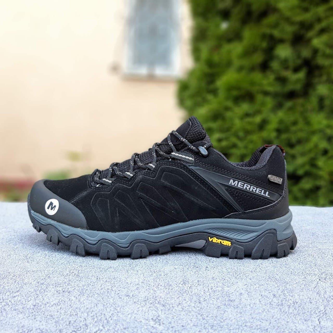 Мужские кроссовки Merrell Vibram (черные) О3679 качественная обувь еврозима