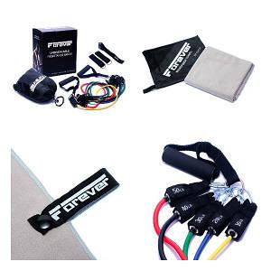 Набір Еспандер трубчастий Forever (Набір з 5 штук) + Рушник з мікрофібри для спорту, фітнесу та подорожей
