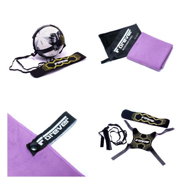 Набор Футбольный тренажер для отработки ударов и передач - Forever + Полотенце из микрофибры для спорта,