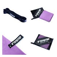 Набір Гумова петля для фітнесу Forever Чорна (11-29 кг) + Рушник з мікрофібри для спорту, фітнесу та