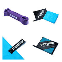 Набір Гумова петля для фітнесу Forever Фіолетова (16-38 кг) + Рушник з мікрофібри для спорту, фітнесу