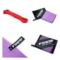 Набір Гумова петля для фітнесу Forever Червона (7-16 кг) + Рушник з мікрофібри для спорту, фітнесу та