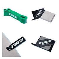 Набір Гумова петля для фітнесу Forever Зелена (23-56 кг) + Рушник з мікрофібри для спорту, фітнесу та