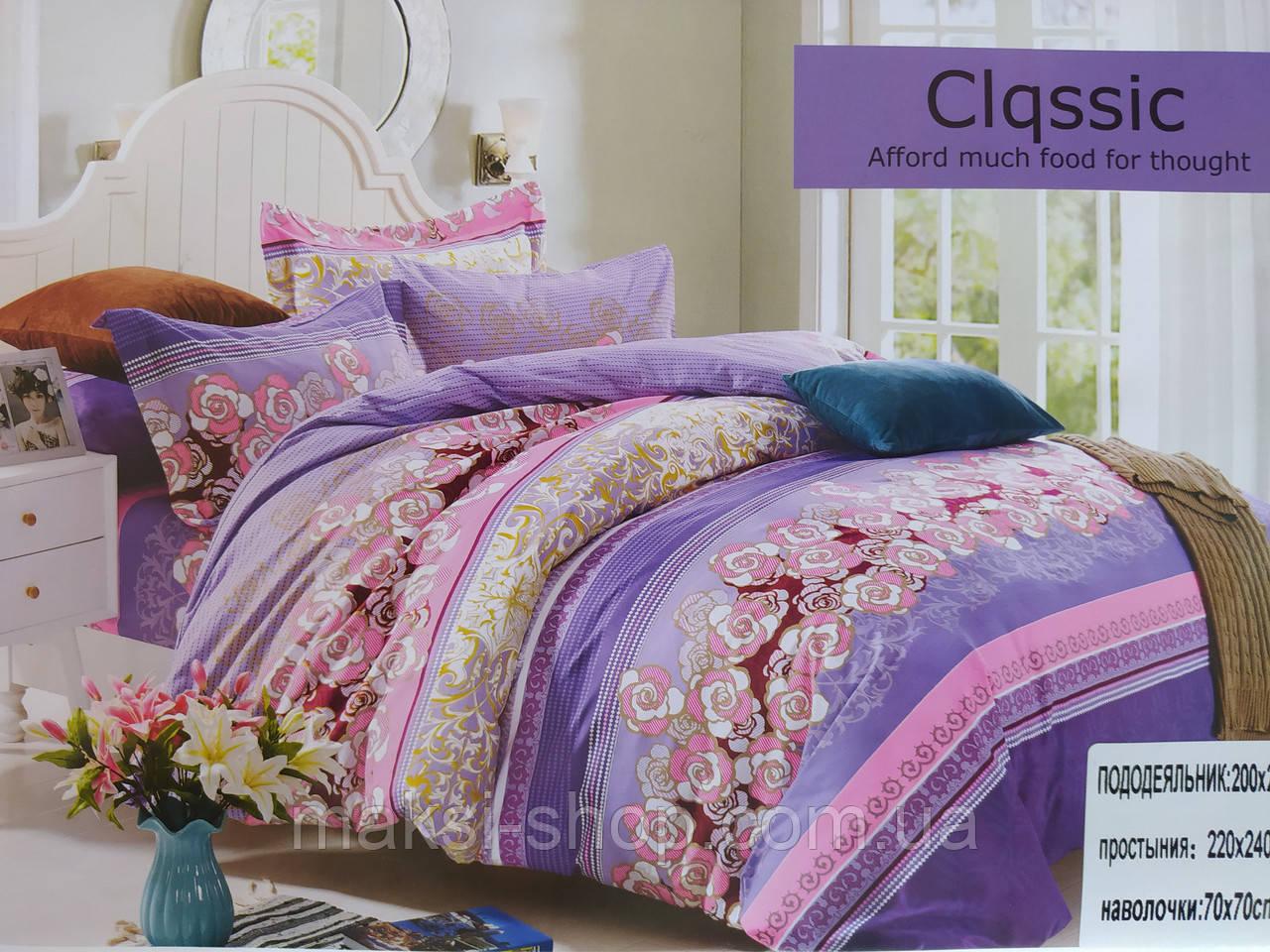 Комплект постельного белья евро размер сатин - байка Classic П 20-13