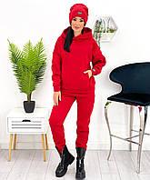 Женский теплый спортивный костюм с шапкой