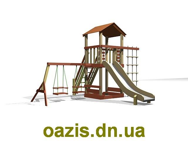 """Детская площадка """"Вежа-1"""" WS005-1с деревянной крышей"""
