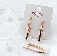 Длинные серьги Xuping без камней - позолота РО, высота 36мм, ширина 3 мм.