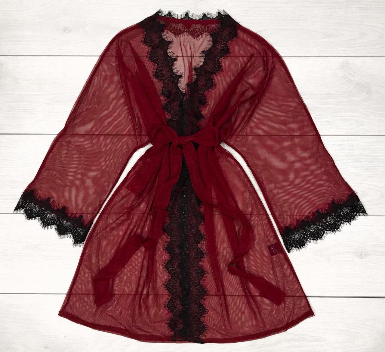 Прозрачный женский халат под пояс с кружевом