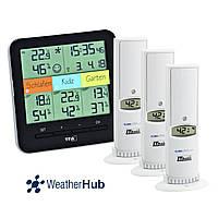 """Термогигрометр цифровой TFA """"Klima@Home"""" WeatherHub, 3 внешних радиодатчика, 128x32(58)x128 мм, Black"""
