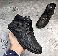 Чёрные кожаные зимние ботинки Billionaire   натуральная кожа/натуральная шерсть + термополиуретан