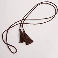 Пояс-шнурок шелковый, коричневый