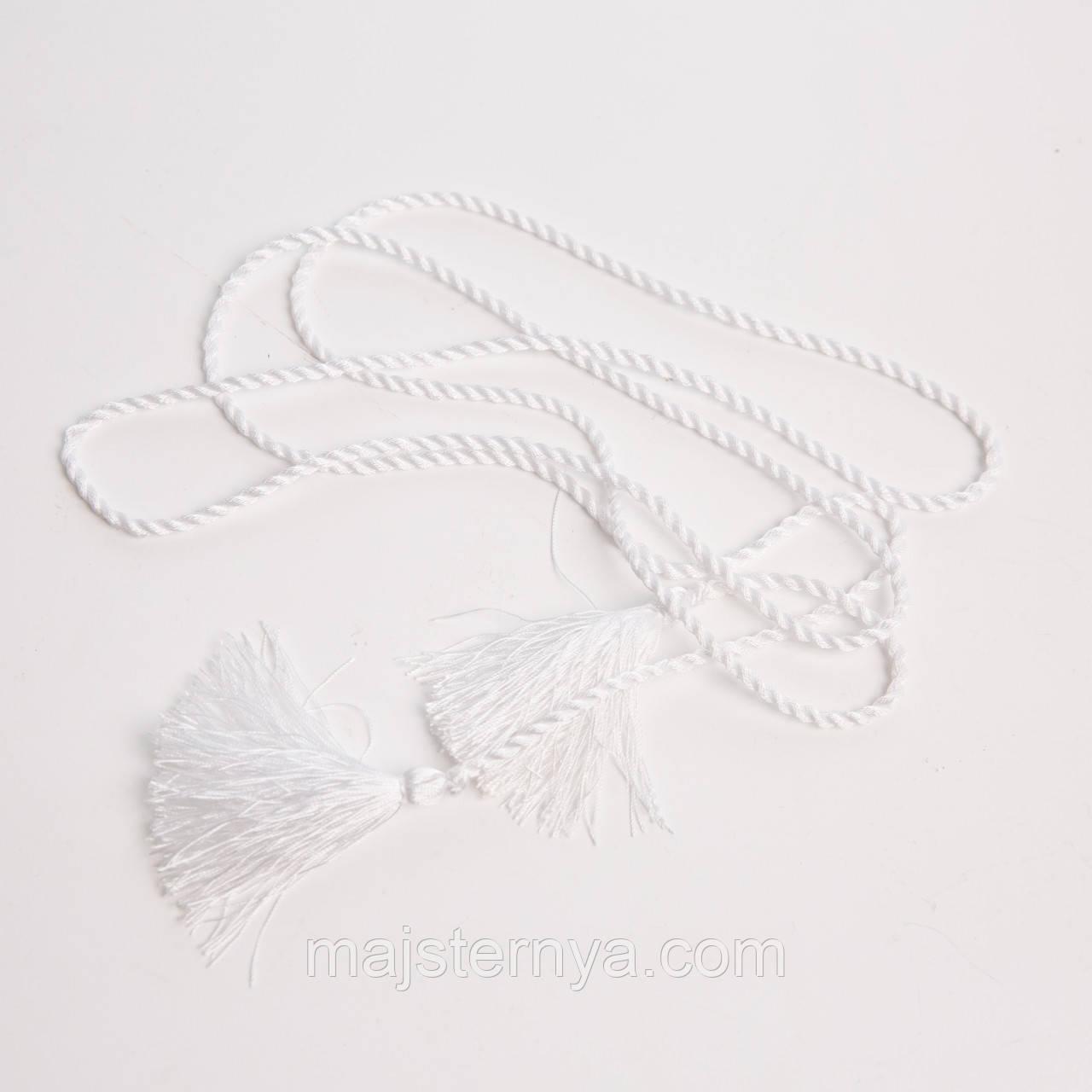 Пояс-шнурок шовковий, білий