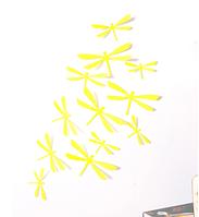 """Наклейка на стену """"12 шт. 3D стрикоза наклейки"""" пластиковые  желтые"""