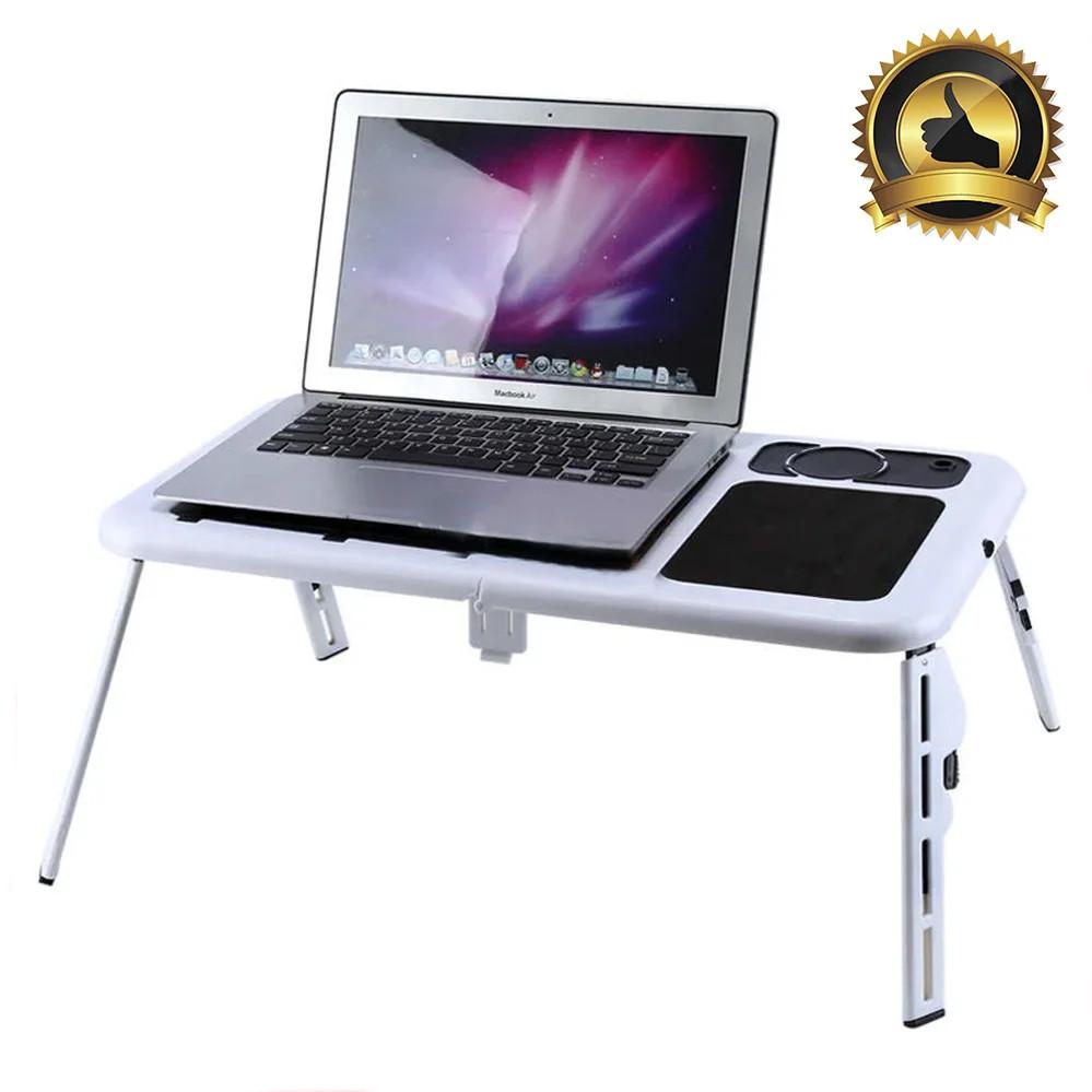 Стіл підставка під ноутбук Портативний розкладний столик трансформер з охолодженням для ноутбука E-TABLE