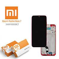 Дисплей для Xiaomi Redmi Note 7, Redmi Note 7 Pro (M1901F7G) с рамкой - панелью, красный, сервисный оригинал