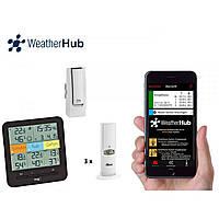 """Термогигрометр цифровой TFA """"Klima@Home"""" WeatherHub для смартфона, 1 межсетевой шлюз, 3 внешних радиодатчика"""
