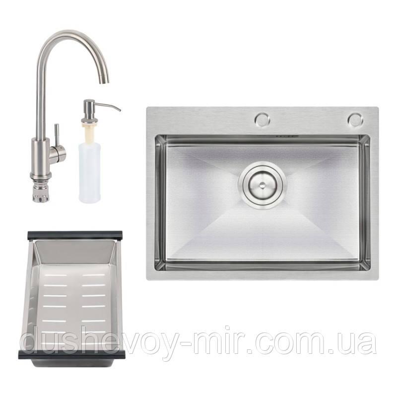 Набор 4 в 1 Qtap кухонная мойка D6045 Satin + смеситель + сушилка + дозатор для моющего средства