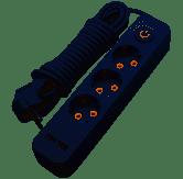 Удлинитель белый 3 гнезда 5м с 2*USB (2100mA) с/з 5x1.0mm макс. 3500W с кнопкой Lemanso / LMK71007