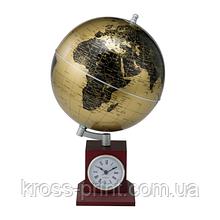 Глобус GOLD на дерев'яній підставці з годинником