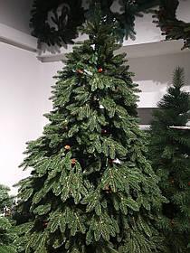 """Искусственная новогодняя зеленая елка с литыми ветками  """"Мерри с шишкой"""", высота 2,5 м"""