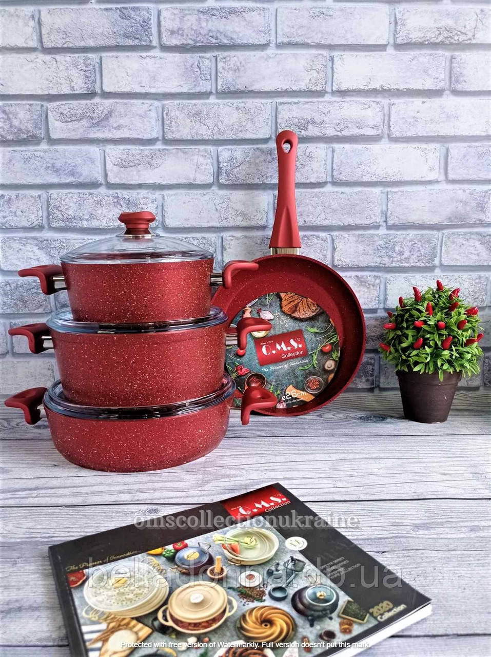 Набір посуду O. M. S. Collection з а/п покриттям з 7-ми (4/3) предм. (ручки бакеліт) арт. 3005.01.02. червоний