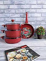 Набір посуду O. M. S. Collection з а/п покриттям з 7-ми (4/3) предм. (ручки бакеліт) арт. 3005.01.02. червоний, фото 1