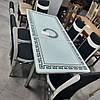 Обеденный комплект 6 стульев и стол  70х110 см Белый с черными узорами, фото 2