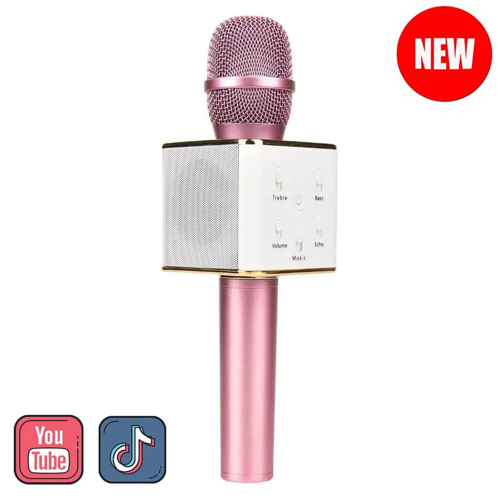 Микрофон караоке для детей беспроводной Q7 Розовый Rose USB Bluetooth с чехлом Игрушка микрофон с динамиком