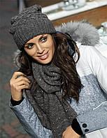 Модный комплект со стразами (шапка+снуд) Valeri от Kamea.