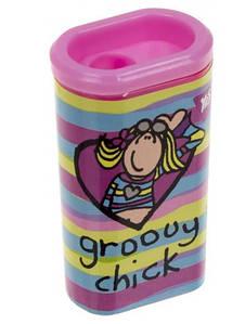 Точилка для карандашей YES пластиковая с контейнером одинарная, Groovy Chick